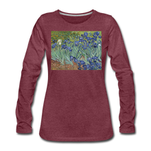 Load image into Gallery viewer, Irises, Women's Premium Slim Fit Long Sleeve T-Shirt - heather burgundy
