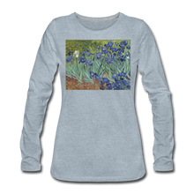 Load image into Gallery viewer, Irises, Women's Premium Slim Fit Long Sleeve T-Shirt - heather ice blue