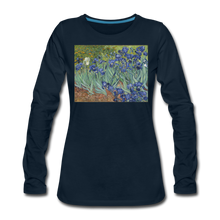 Load image into Gallery viewer, Irises, Women's Premium Slim Fit Long Sleeve T-Shirt - deep navy