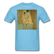 Load image into Gallery viewer, Klimt's The Kiss, Unisex Classic T-Shirt - aquatic blue