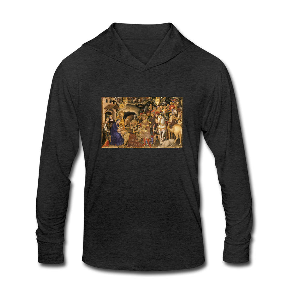 The Adoration of the Magi, Unisex Tri-Blend Hoodie Shirt - heather black