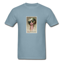 Load image into Gallery viewer, Vintage Valentine's Card, Hanes Adult Tagless T-Shirt - stonewash blue