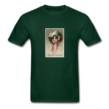 Load image into Gallery viewer, Vintage Valentine's Card, Hanes Adult Tagless T-Shirt - forest green