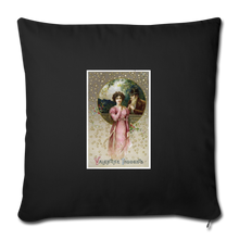 "Load image into Gallery viewer, Vintage Valentine Throw Pillow Cover 18"" x 18"" - black"