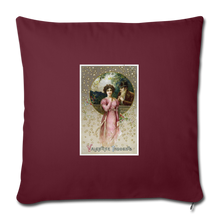 "Load image into Gallery viewer, Vintage Valentine Throw Pillow Cover 18"" x 18"" - burgundy"