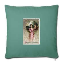 "Load image into Gallery viewer, Vintage Valentine Throw Pillow Cover 18"" x 18"" - cypress green"