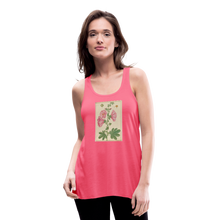 Load image into Gallery viewer, Hollyhocks Women's Flowy Tank Top by Bella - neon pink