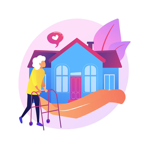 Illustration of elderly woman walking with a walker in front of her home