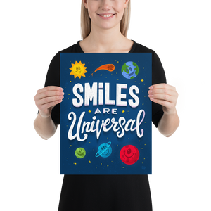 Smiles are Universal - hand lettering art print 12x16