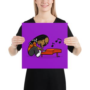 Schroedie Wonder art print, Rick Draws Thing Art, cartoon, peanuts, schroeder, stevie wonder, fan art, piano, cartoons, snoopy, music