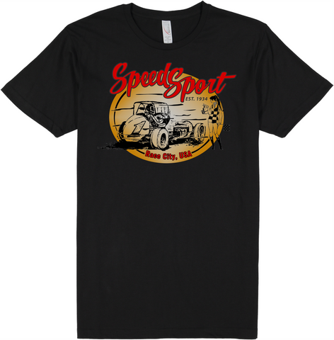 Vintage Sprint Car/Flag Girl - Short-Sleeve Unisex T-Shirt