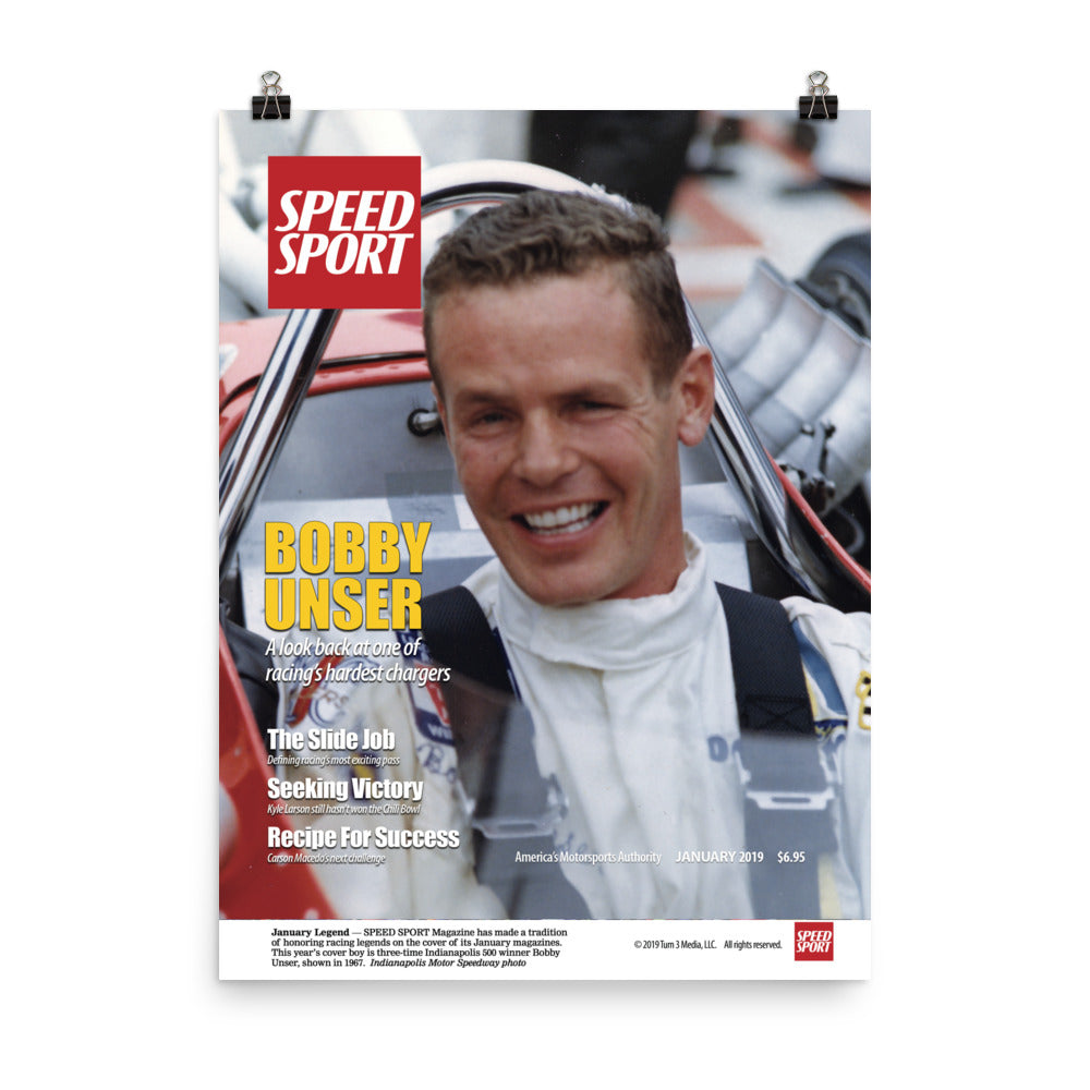 SPEED SPORT Magazine January 2019 Cover Art Poster featuring Bobby Unser