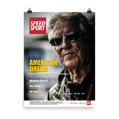 SPEED SPORT Magazine May 2019 Cover Art Poster featuring AMERICAN DREAM-Mario Andretti
