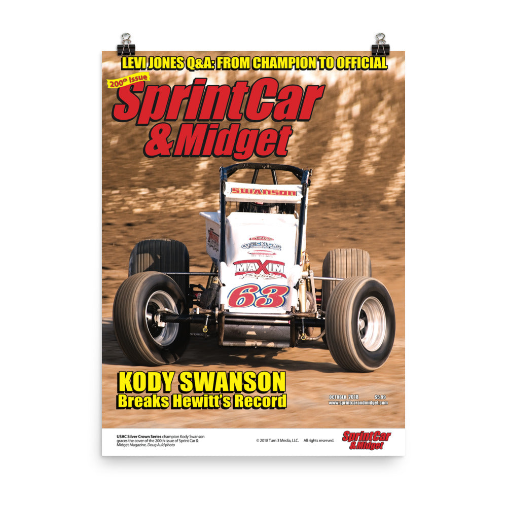 Sprint Car & Midget Magazine October 2018 Cover Art Poster featuring Kody Swanson