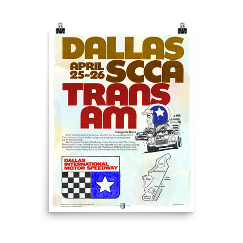 Inaugural Dallas Trans Am reproduction poster - The SPEED SPORT Vault Collection