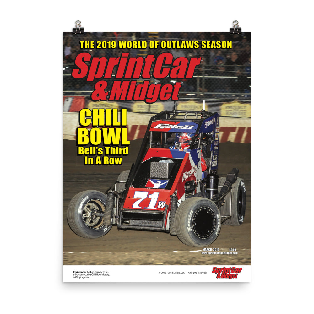 Sprint Car & Midget Magazine March 2019 Cover Art Poster featuring Christopher Bell