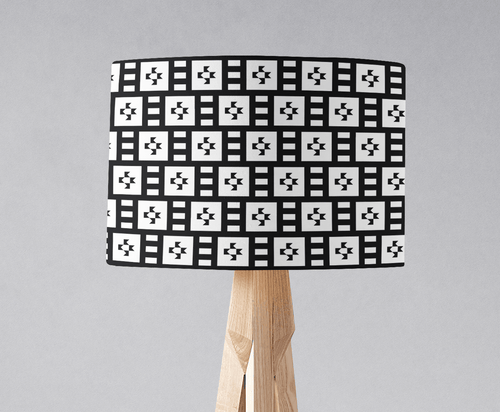 Black and White Geometric Tiles Design Lampshade, Ceiling or Table Lamp Shade - Shadow bright