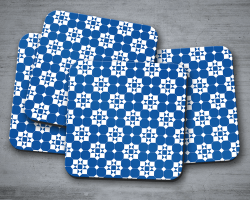 Blue and White Geometric Tiles Design Coaster, Table Decor Drinks Mat - Shadow bright