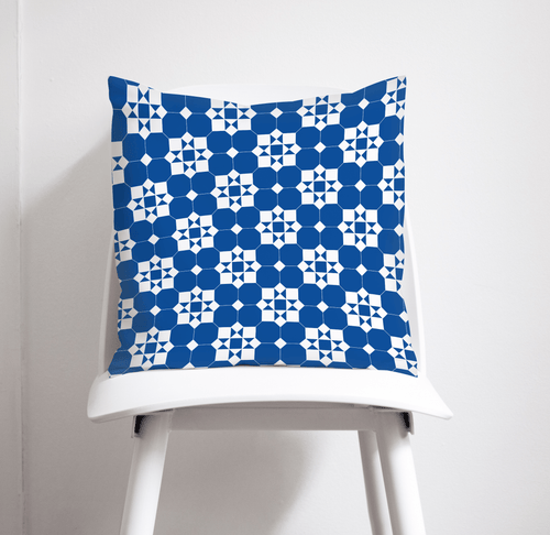 Blue and White Geometric Tiles Design Cushion, Throw Pillow - Shadow bright