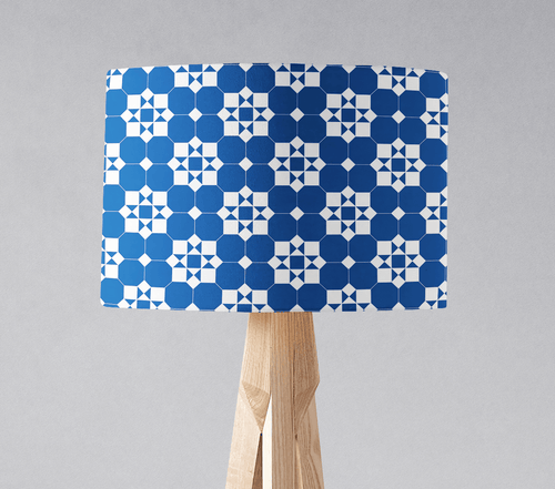 Blue and White Geometric Tiles Design Lampshade, Ceiling or Table Lamp Shade - Shadow bright