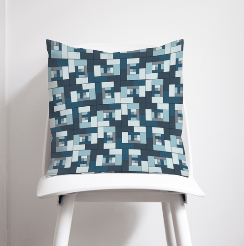 Blue Geometric Bricks Design Cushion, Throw Pillow - Shadow bright