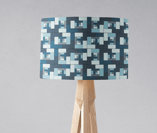 Blue Geometric Bricks Design Lampshade, Ceiling or Table Lamp Shade - Shadow bright