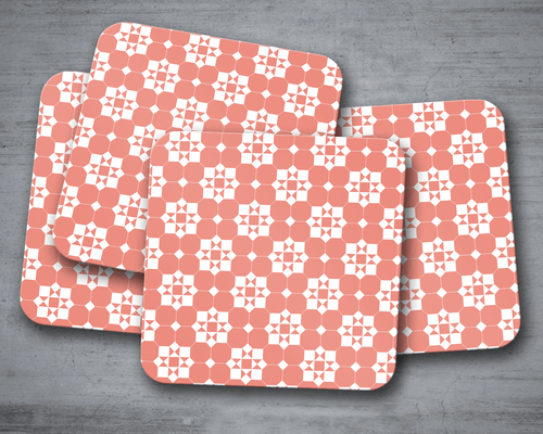 Coral and White Geometric Tiles Design Coasters, Table Decor Drinks Mat - Shadow bright