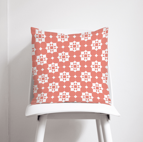 Coral and White Geometric Tiles Design Cushion, Throw Pillow - Shadow bright