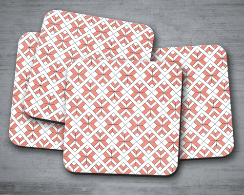 Coral and White Geometric Design Coasters, Table Decor Drinks Mat - Shadow bright