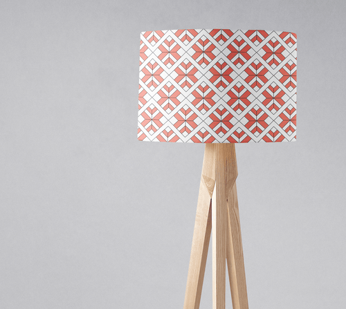 Coral and White Geometric Design Lampshade, Ceiling or Table Lamp Shade - Shadow bright