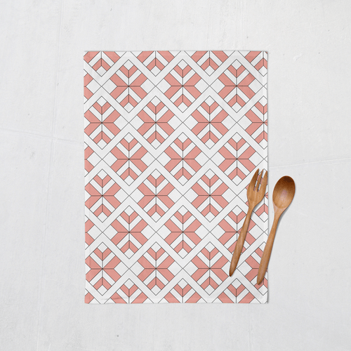 Coral and White Tea Towel with a Geometric Design, Dish Towel, Kitchen Towel - Shadow bright