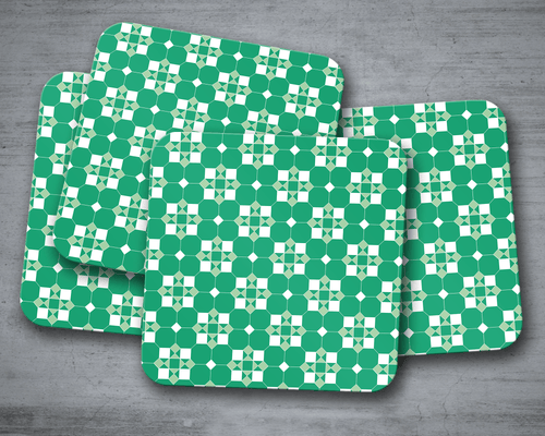 Green and White Geometric Tiles Design Coasters, Table Decor Drinks Mat - Shadow bright