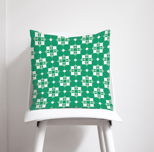 Green and White Geometric Tiles Design Cushion, Throw Pillow - Shadow bright