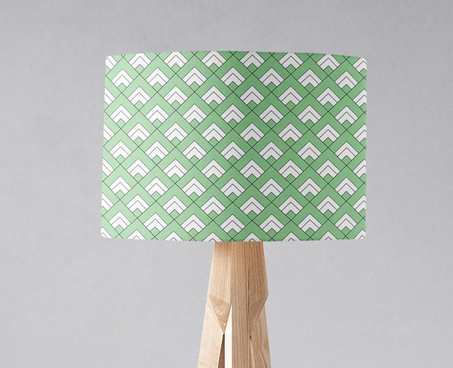 Light Green and White Geometric Tiles Design Lampshade, Ceiling or Table Lamp Shade - Shadow bright