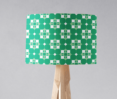 Green and White Geometric Tiles Design Lampshade, Ceiling or Table Lamp Shade - Shadow bright