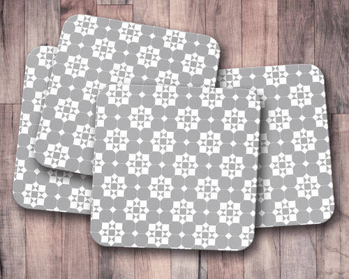 Grey and White Geometric Tiles Design Coasters, Table Decor Drinks Mat - Shadow bright
