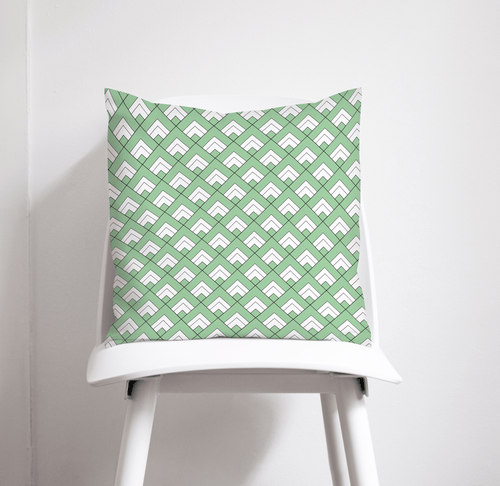 Light Green and White Geometric Tiles Design Cushion, Throw Pillow - Shadow bright