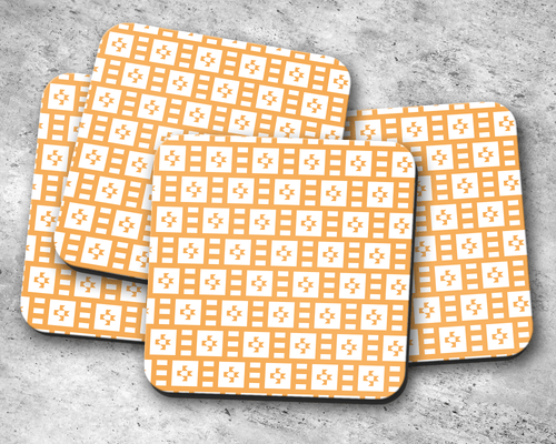 Light Orange and White Geometric Tiles Design Coasters, Table Decor Drinks Mat - Shadow bright