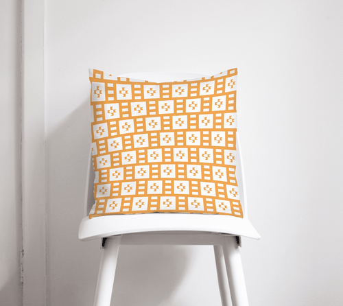 Light Orange and White Geometric Tiles Design Cushion, Throw Pillow - Shadow bright