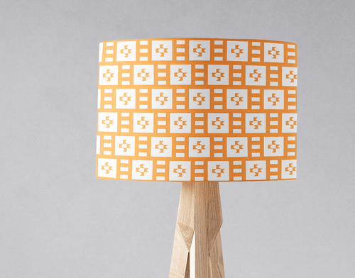 Light Orange and White Geometric Tiles Design Lampshade, Ceiling or Table Lamp Shade - Shadow bright