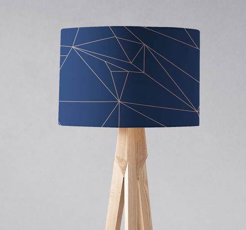 Navy Blue and Rose Gold Lines Lampshade - Shadow bright