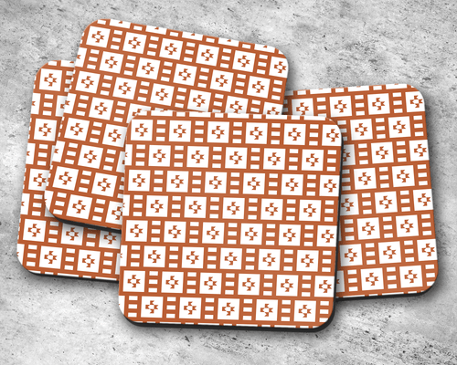 Rust and White Geometric Tiles Design Coasters, Table Decor Drinks Mat - Shadow bright