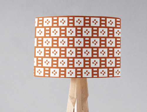 Rust and White Geometric Tiles Design Lampshade, Ceiling or Table Lamp Shade - Shadow bright