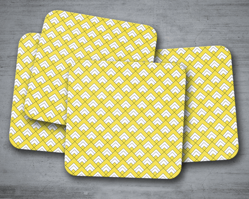 Yellow and White Geometric Tiles Design Coasters, Table Decor Drinks Mat - Shadow bright