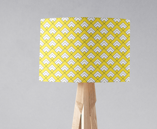 Yellow and White Geometric Tiles Design Lampshade, Ceiling or Table Lamp Shade - Shadow bright