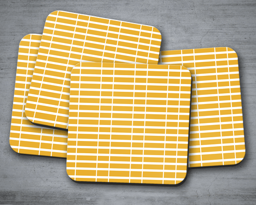 Yellow Coasters with a White Line Geometric Design, Table Decor Drinks Mat - Shadow bright