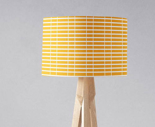 Yellow with White Geometric Stripes Lampshade, Ceiling or Table Lamp Shade - Shadow bright