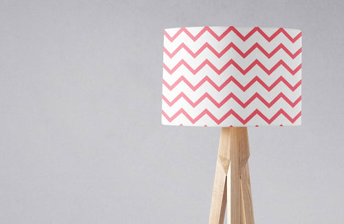 White with a Pink Chevrons Design Lampshade, Ceiling or Table Lamp Shade - Shadow bright