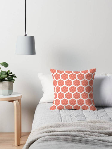 Orange Cushion with a White Hexagon Design, Throw Pillow - Shadow bright