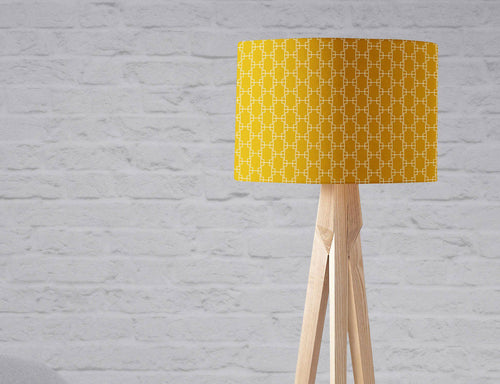 Mustard Yellow Lampshade with a White Geometric Design, Ceiling Light Shade, Table Lamp - Shadow bright